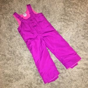 Fushia Pink Girls Snow Overalls Suit Pants 4T